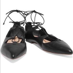 LOEFFLER RANDALL Ambra lace-up leather point flats